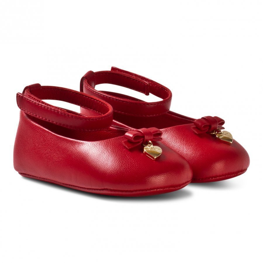Dolce & Gabbana Red Leather Crib Shoes With Charm Ballerinat