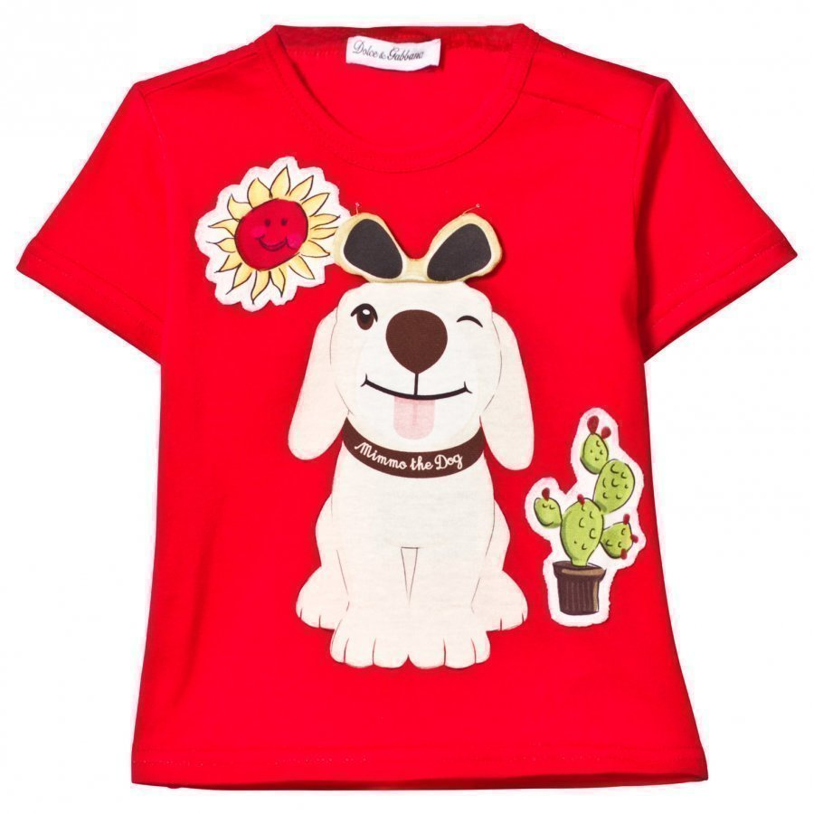 Dolce & Gabbana Red Mimmo Applique Tee With Flap Sunglasses T-Paita