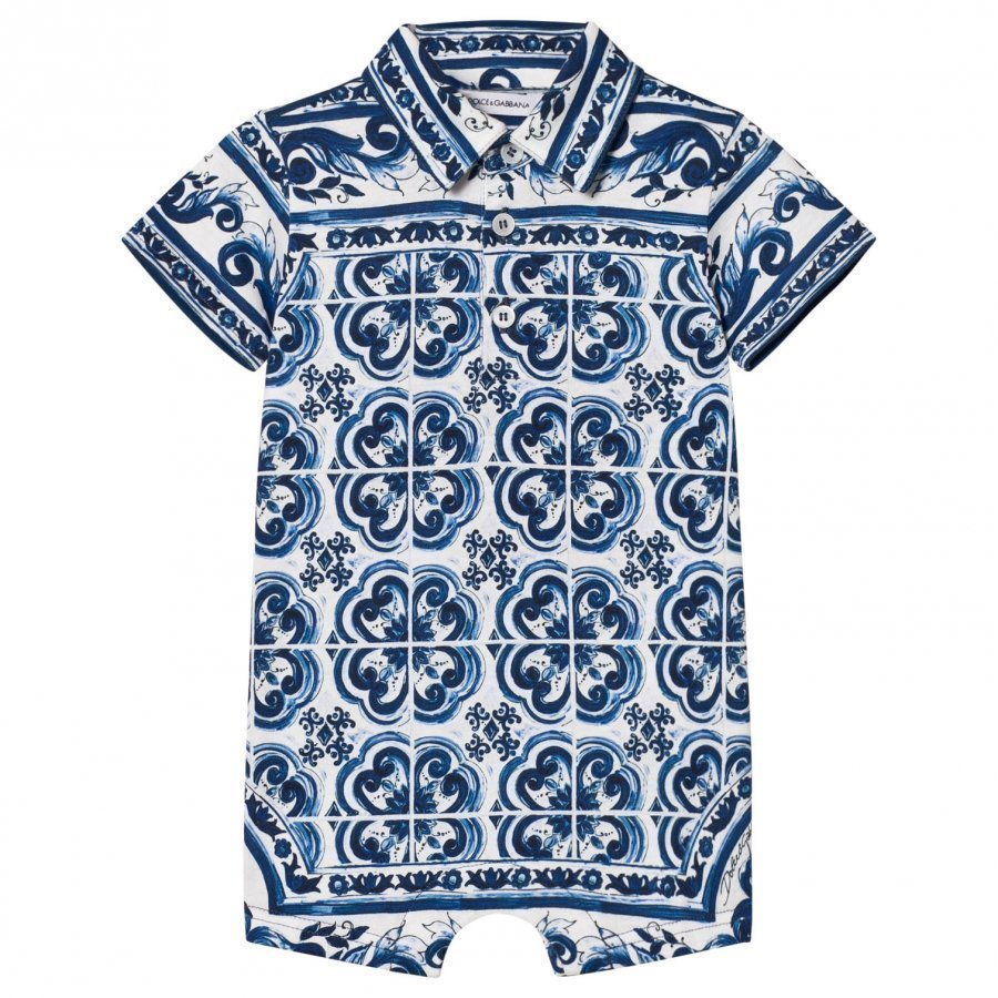 Dolce & Gabbana Romper In Printed Cotton Jersey Blue Romper Puku