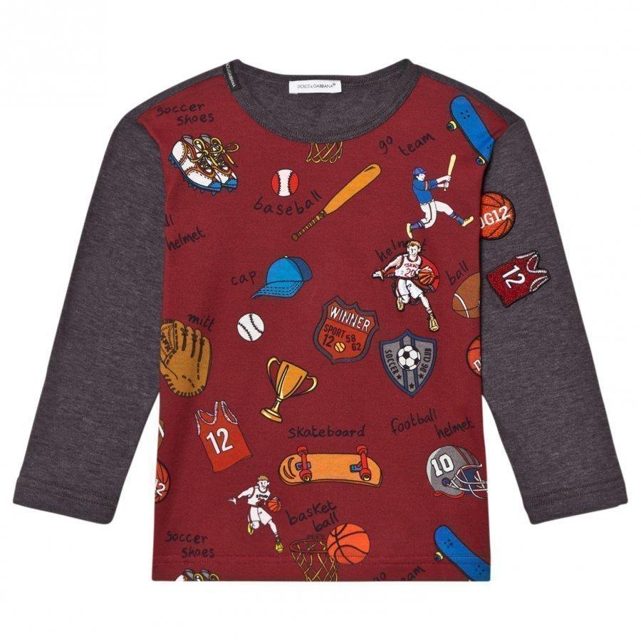 Dolce & Gabbana Sports Cartoon Print Long Sleeve Tee Red And Grey T-Paita