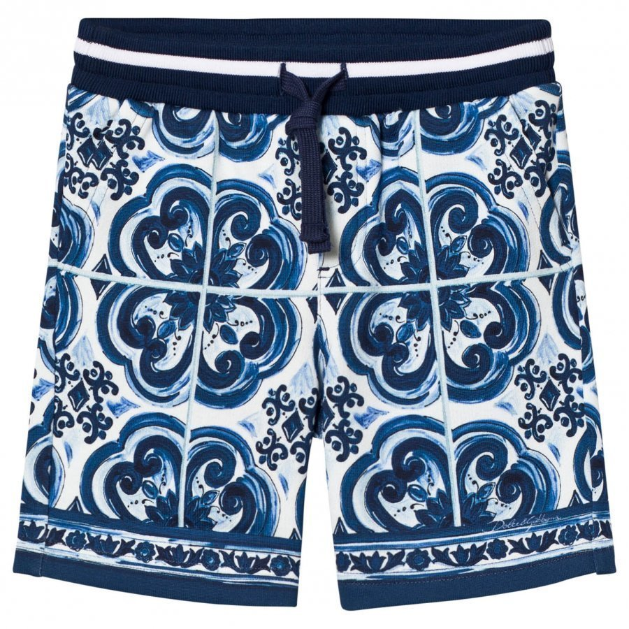Dolce & Gabbana Sweat Shorts In Printed Cotton Blue Oloasun Shortsit