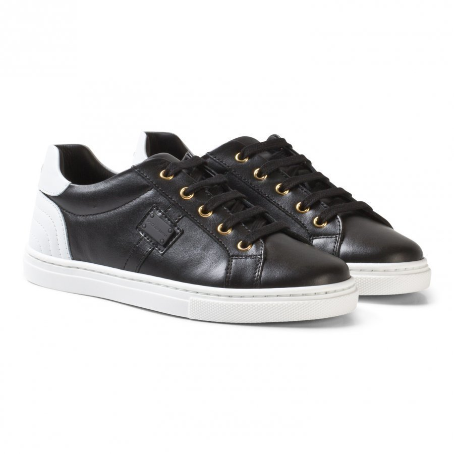 Dolce & Gabbana White And Black Leather Laced Trainers Lenkkarit