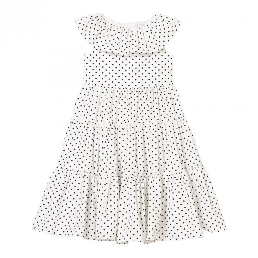 Dolce & Gabbana White And Black Spot Tiered Dress Juhlamekko