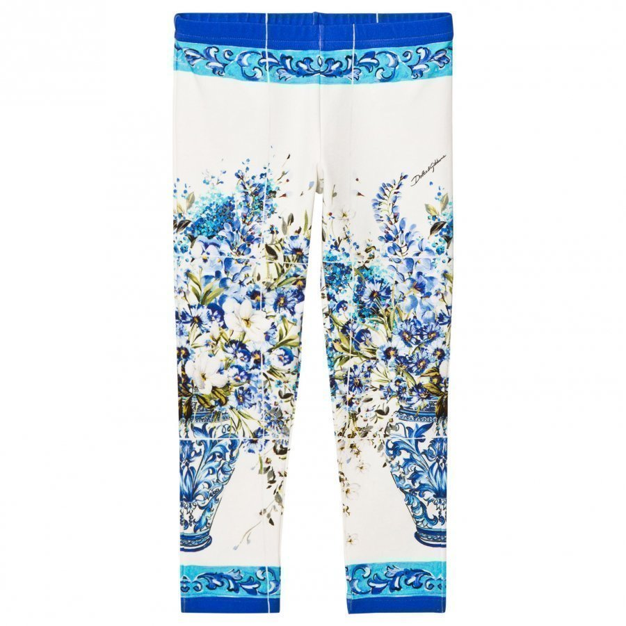 Dolce & Gabbana White And Blue Floral Leggings Legginsit