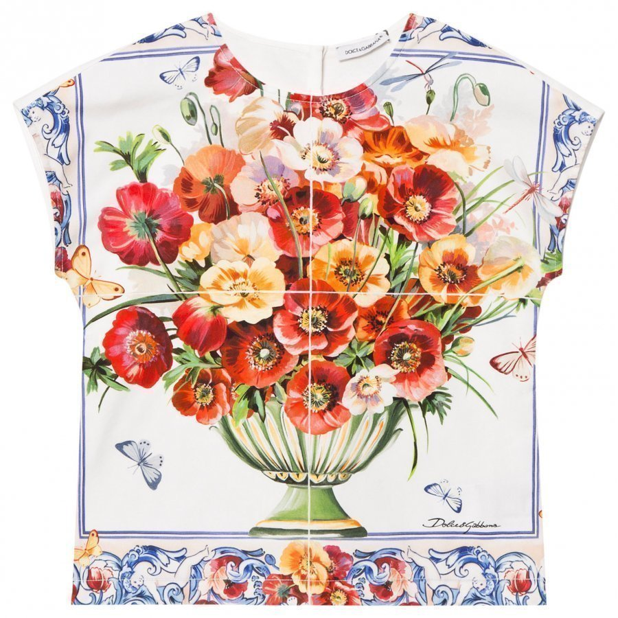 Dolce & Gabbana White And Pink Floral Print Jersey And Poplin Top T-Paita