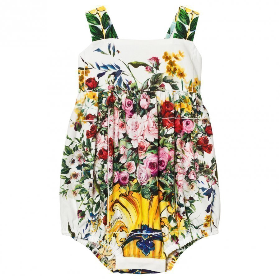 Dolce & Gabbana White And Pink Floral Print Majolica Romper Puku