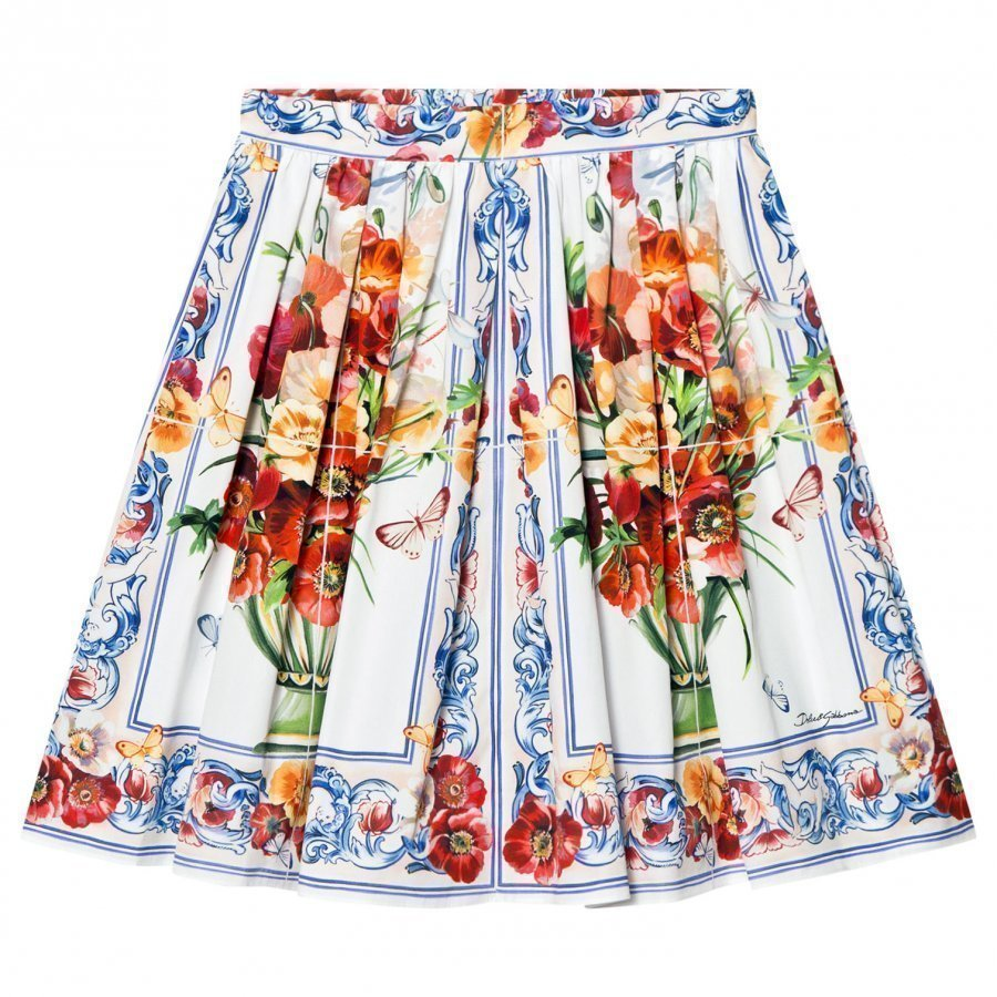 Dolce & Gabbana White And Pink Floral Print Skirt Lyhyt Hame