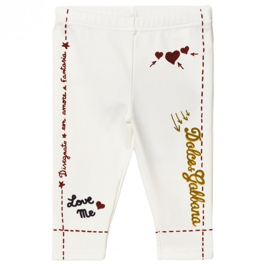Dolce & Gabbana White Branded Print Leggings Sukkahousut