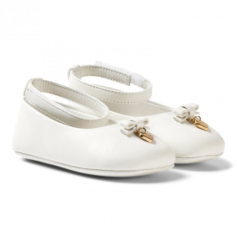 Dolce & Gabbana White Leather Crib Shoes With Charm Ballerinat