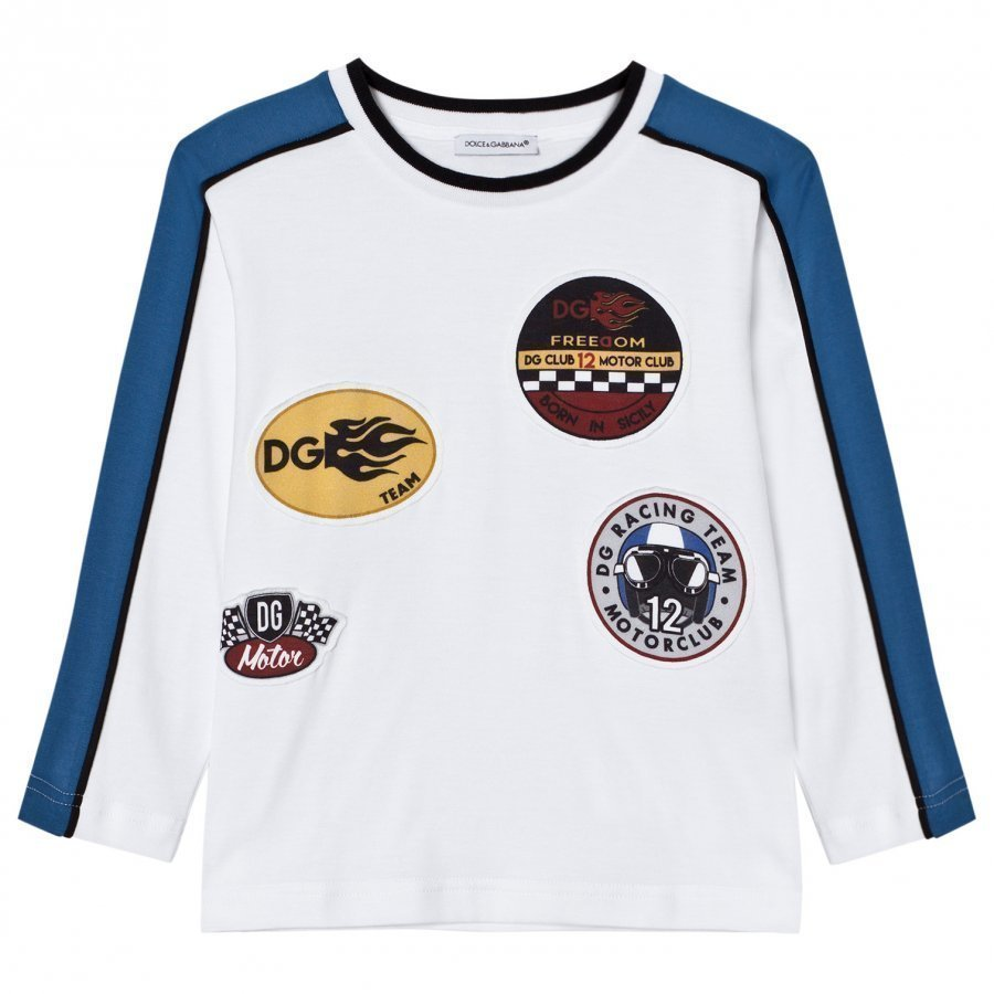 Dolce & Gabbana White Motor Sports Applique Long Sleeve Tee T-Paita