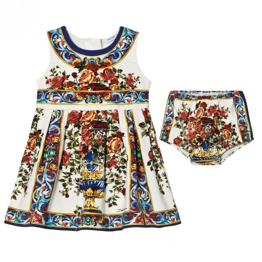 Dolce & Gabbana White Multi Majolica Print Dress Bloomers Set Juhlamekko