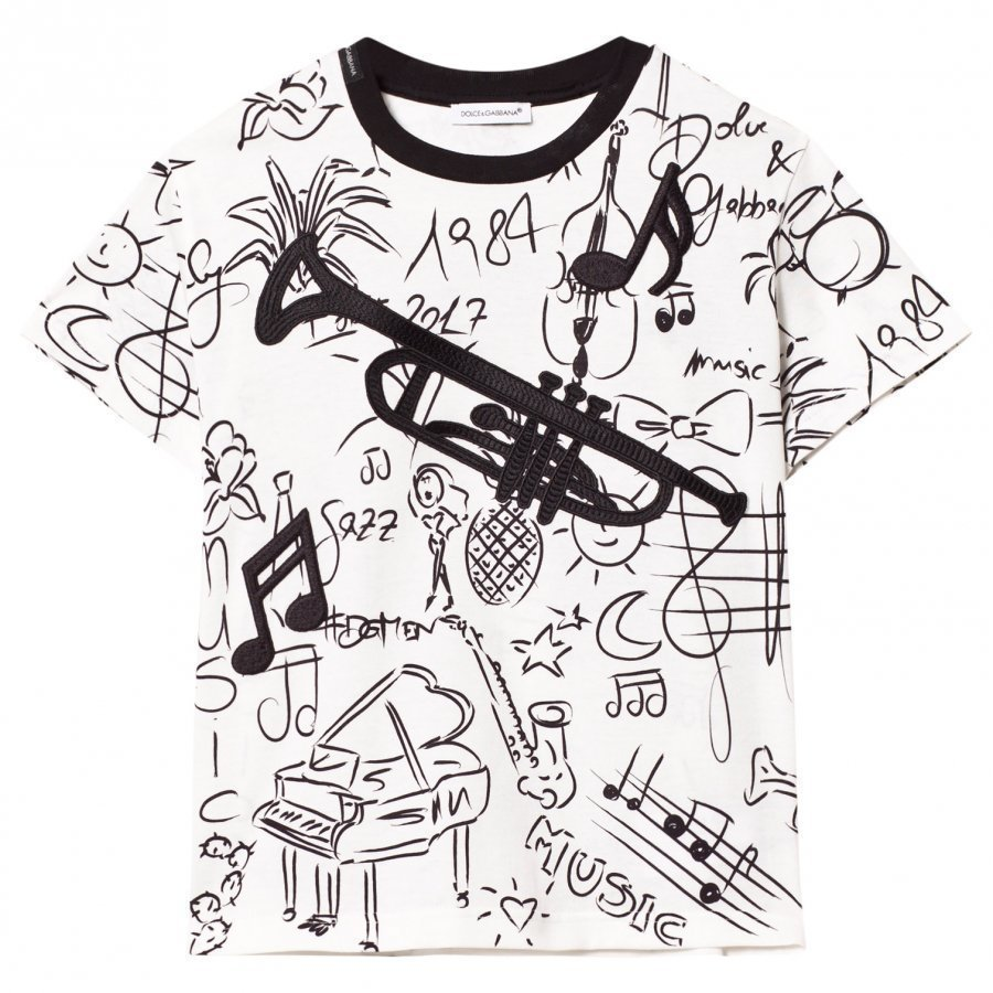 Dolce & Gabbana White Musical Instrument Tee With Trombone Appliqué T-Paita
