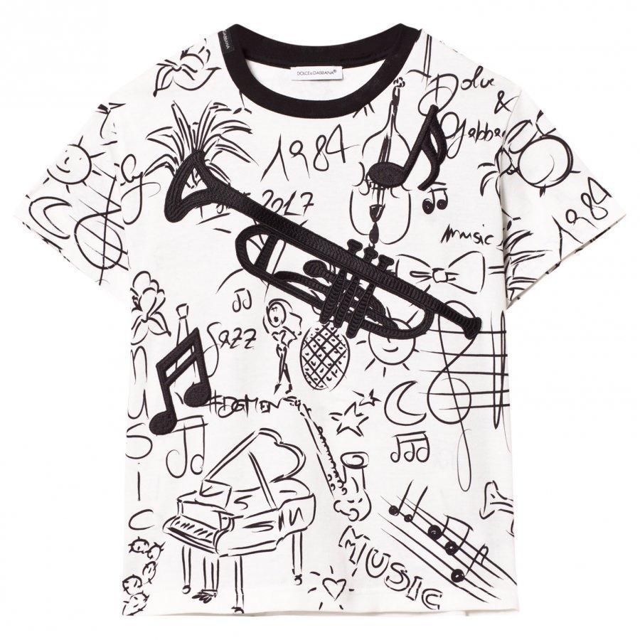 Dolce & Gabbana White Musical Instrument Tee With Trombone Appliqué T-Paita