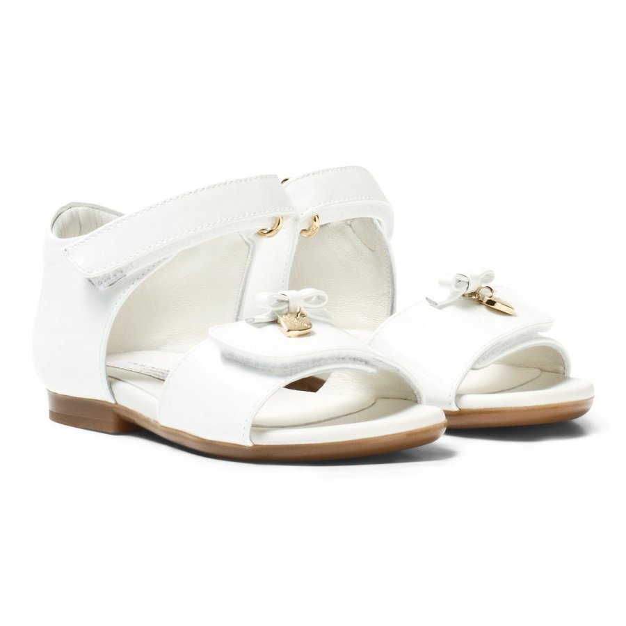 Dolce & Gabbana White Patent Sandal Remmisandaalit