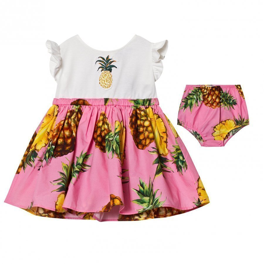 Dolce & Gabbana White Pineapple Applique Dress Juhlamekko
