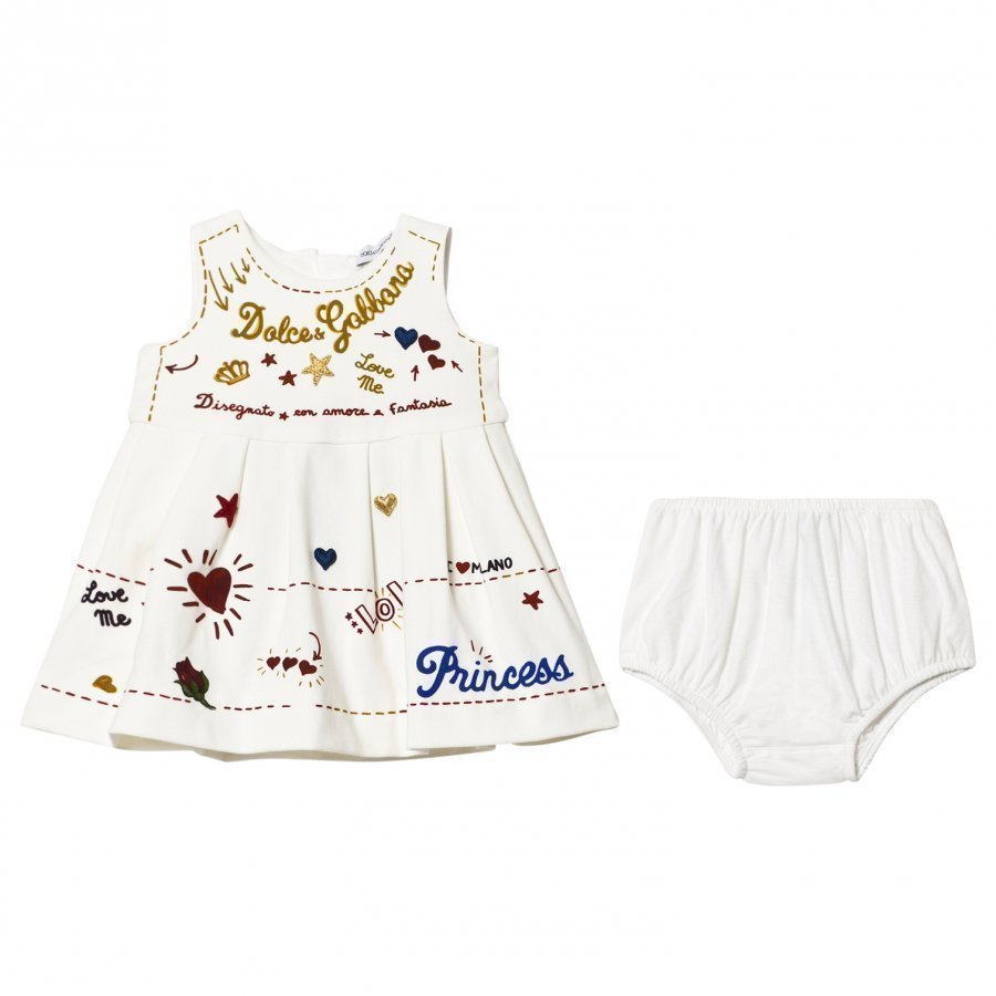 Dolce & Gabbana White Print And Applique Branded Dress And Knickers Set Juhlamekko