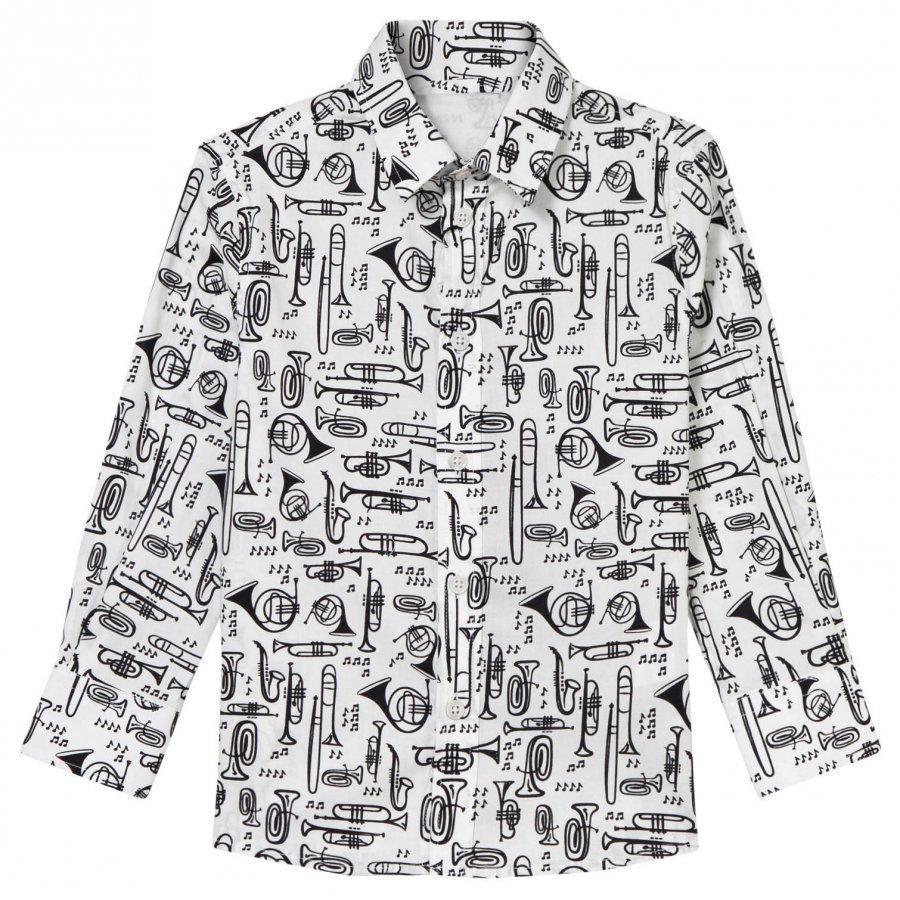 Dolce & Gabbana White Scribble Musical Instrument Shirt Kauluspaita