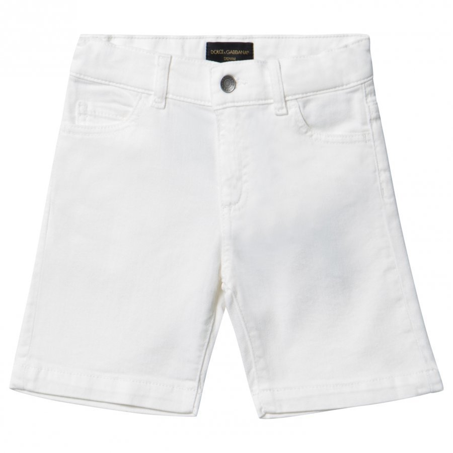 Dolce & Gabbana White Twill Shorts With Musical Note Applique Farkkushortsit