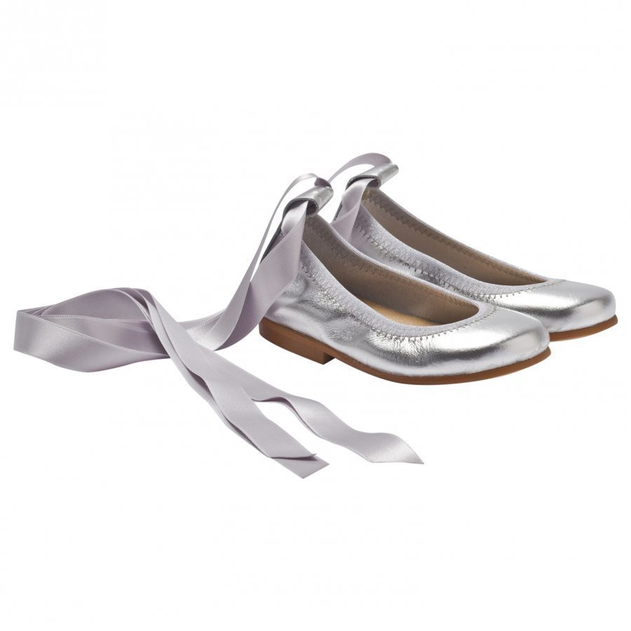 Dolly By Le Petit Tom Ballerina Silver Leather Ballerinat