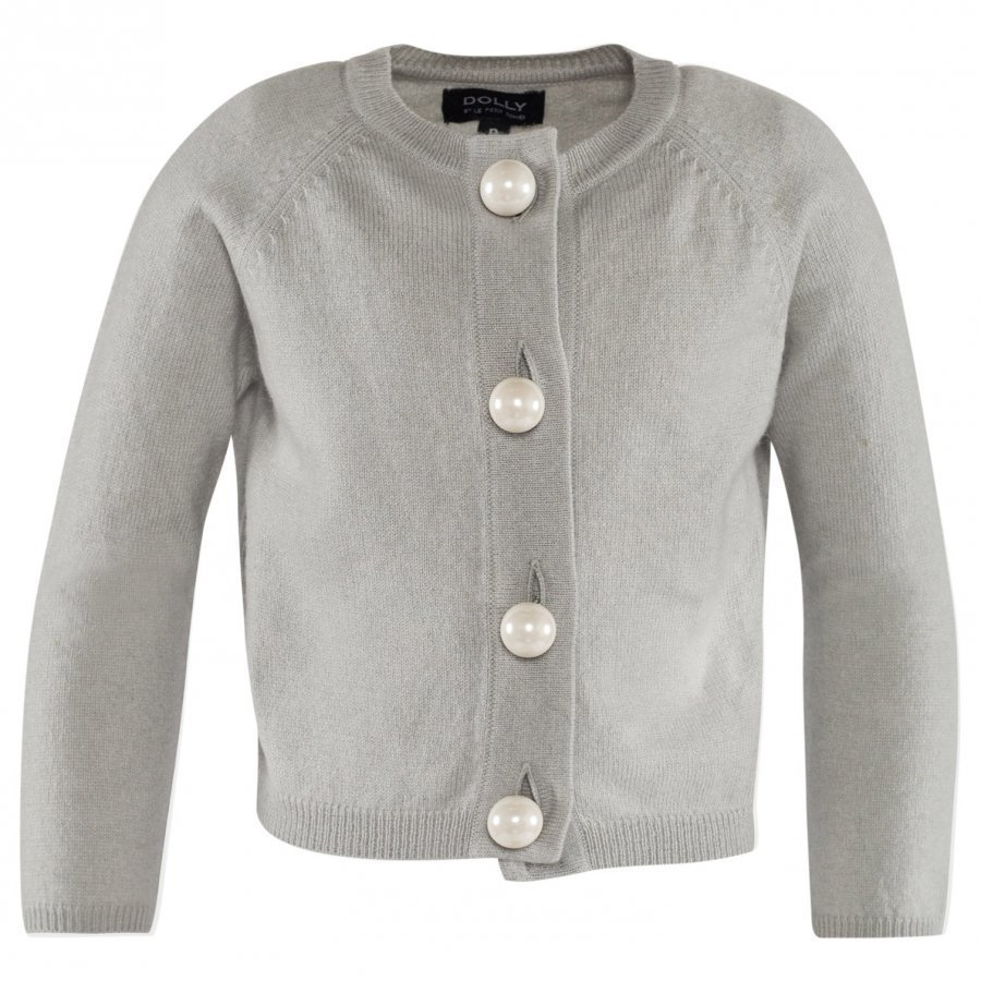 Dolly By Le Petit Tom Pearled Up Cardigan Cashmere Silvergrey Neuletakki