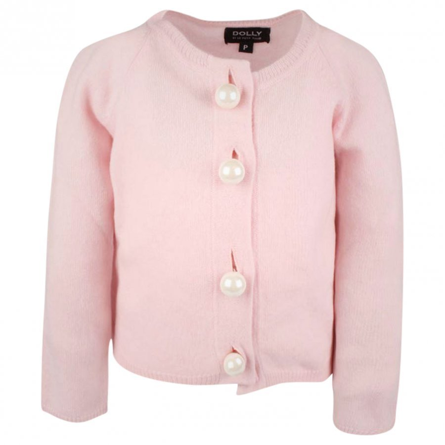 Dolly By Le Petit Tom Pearled Up Cardigan Pink Neuletakki