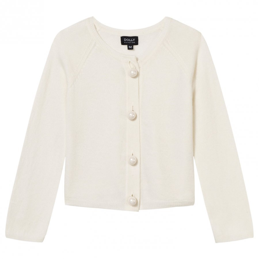 Dolly By Le Petit Tom Pearled Up Cardigan White Neuletakki