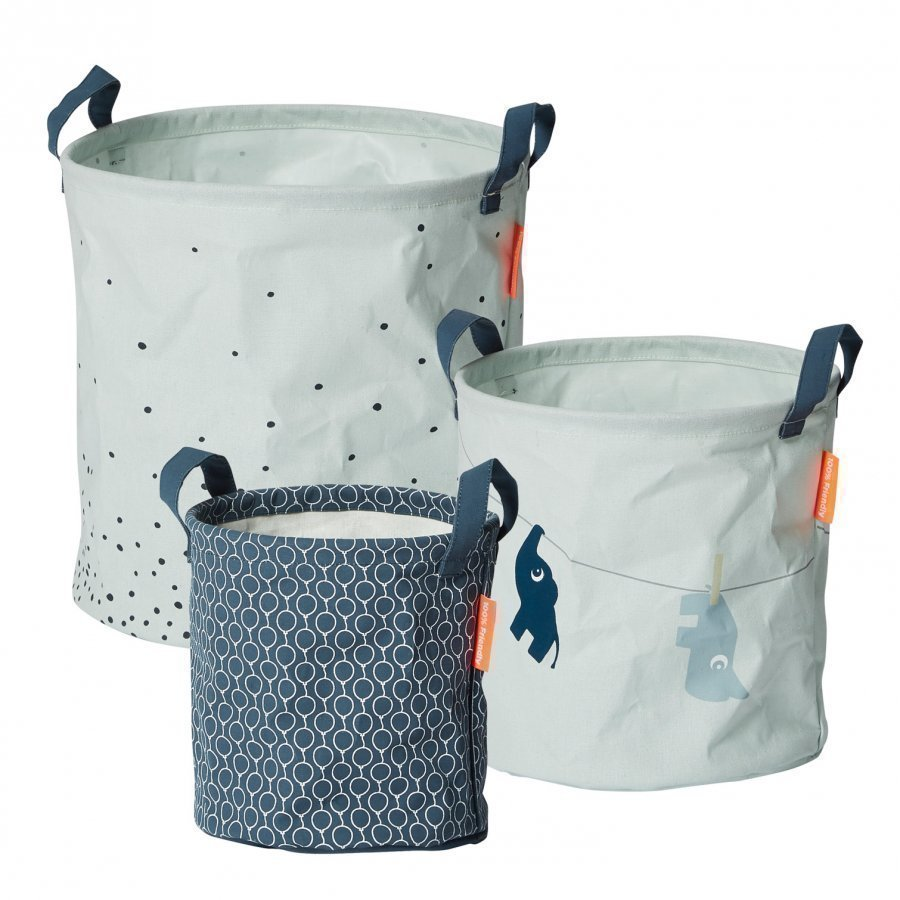 Done By Deer 3 Piece Soft Storage Baskets Blue Säilytyskori