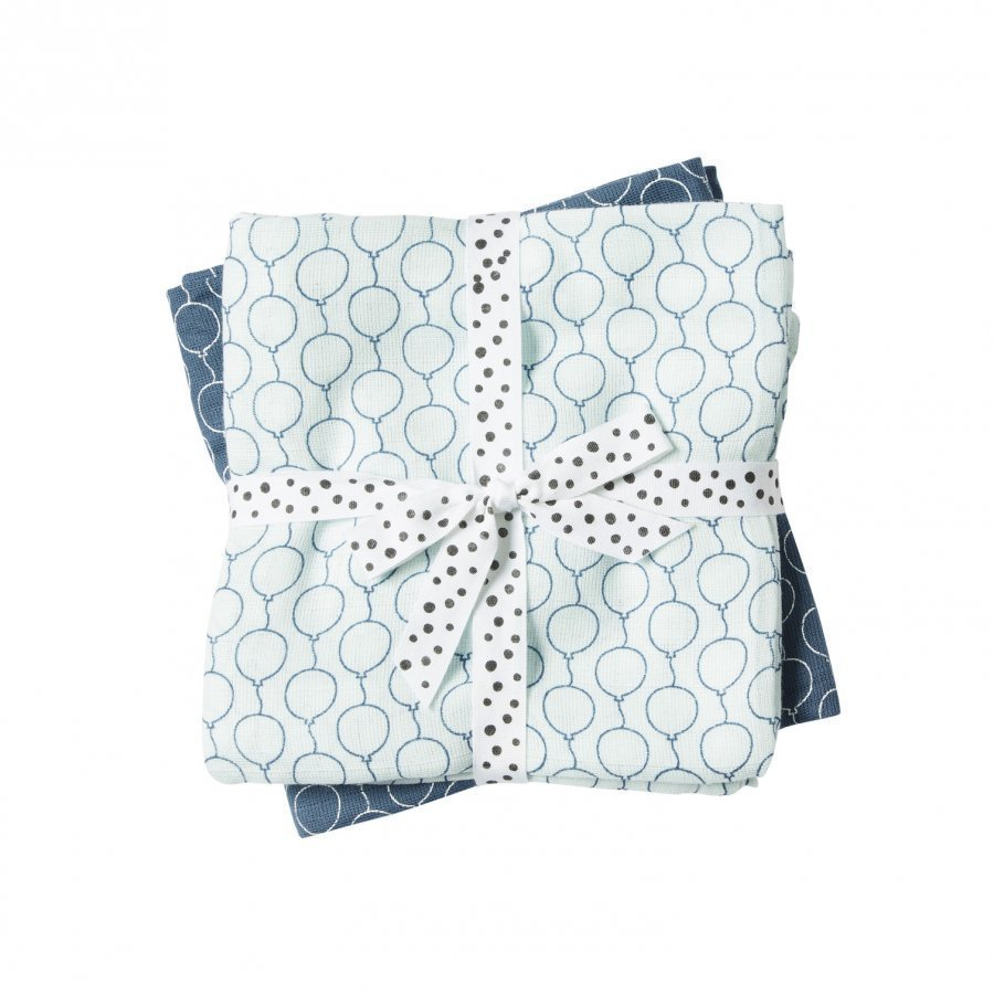 Done By Deer Balloon Burp Cloth 2-Pack Blue Huopa