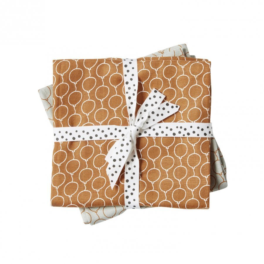 Done By Deer Balloon Burp Cloth 2-Pack Golden Huopa