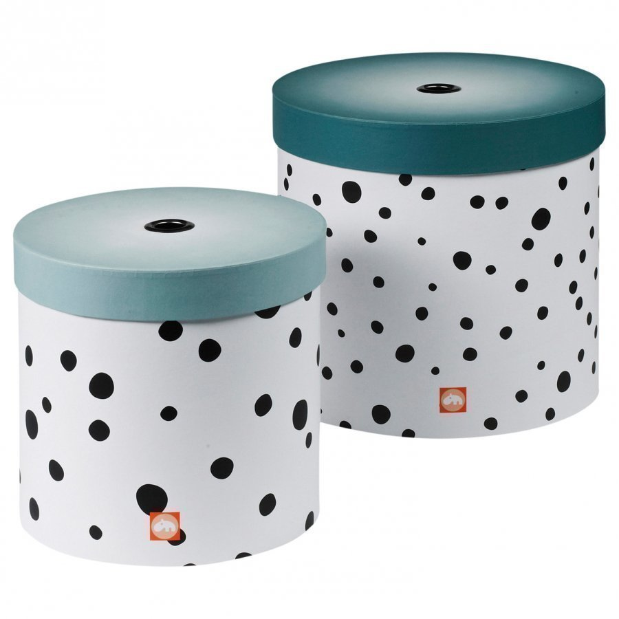 Done By Deer Happy Dots Round Box Set 2 Pieces Blue Säilytyslaatikko