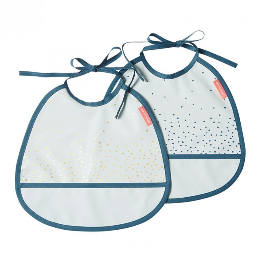 Done By Deer Happy Dots Tiny Bib 2-Pack Blue Ruokalappu