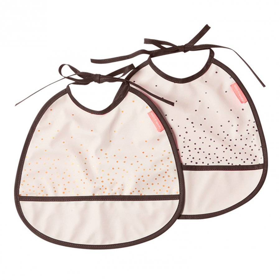 Done By Deer Happy Dots Tiny Bib 2-Pack Powder Ruokalappu