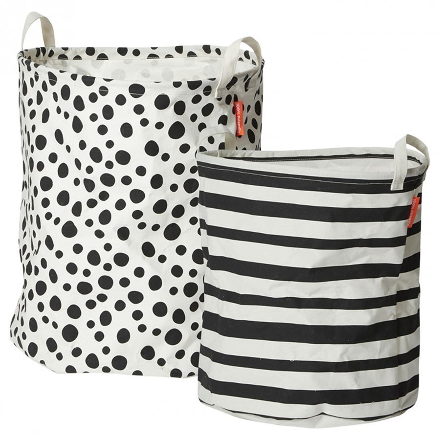 Done By Deer Soft Storage Basket 2 Pieces Black Säilytyskori