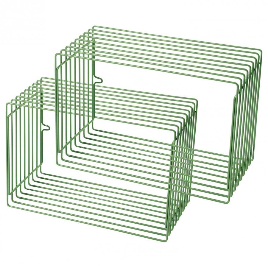 Done By Deer Wire Rectangle Shelf 2 Pieces Green Juliste