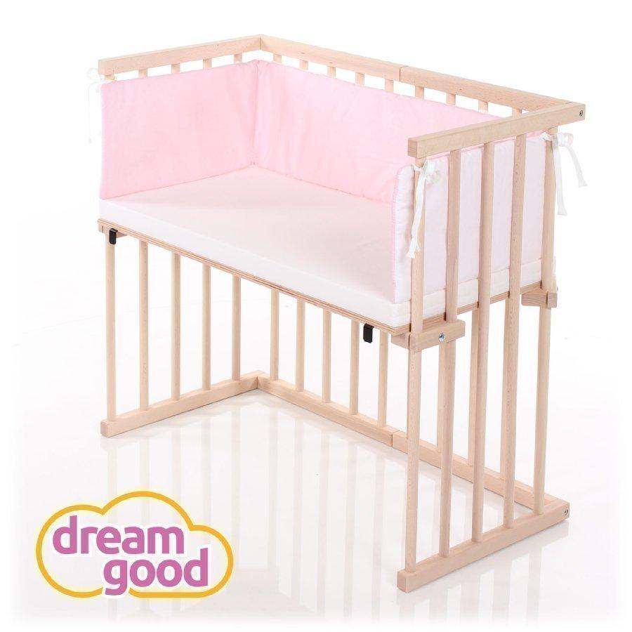 ... Dreamgood Sivuvaunusänky Puunvärinen + Prime Air Patja + Reunapehmuste  Vaaleanpunainen   Valkoinen 48f6efddb5