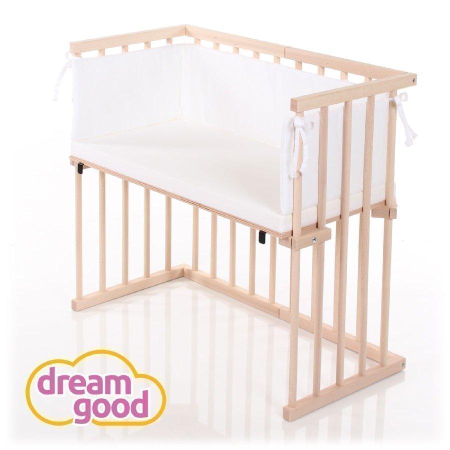 Dreamgood Sivuvaunusänky Puunvärinen + Prime Patja + Reunapehmuste Valkoinen