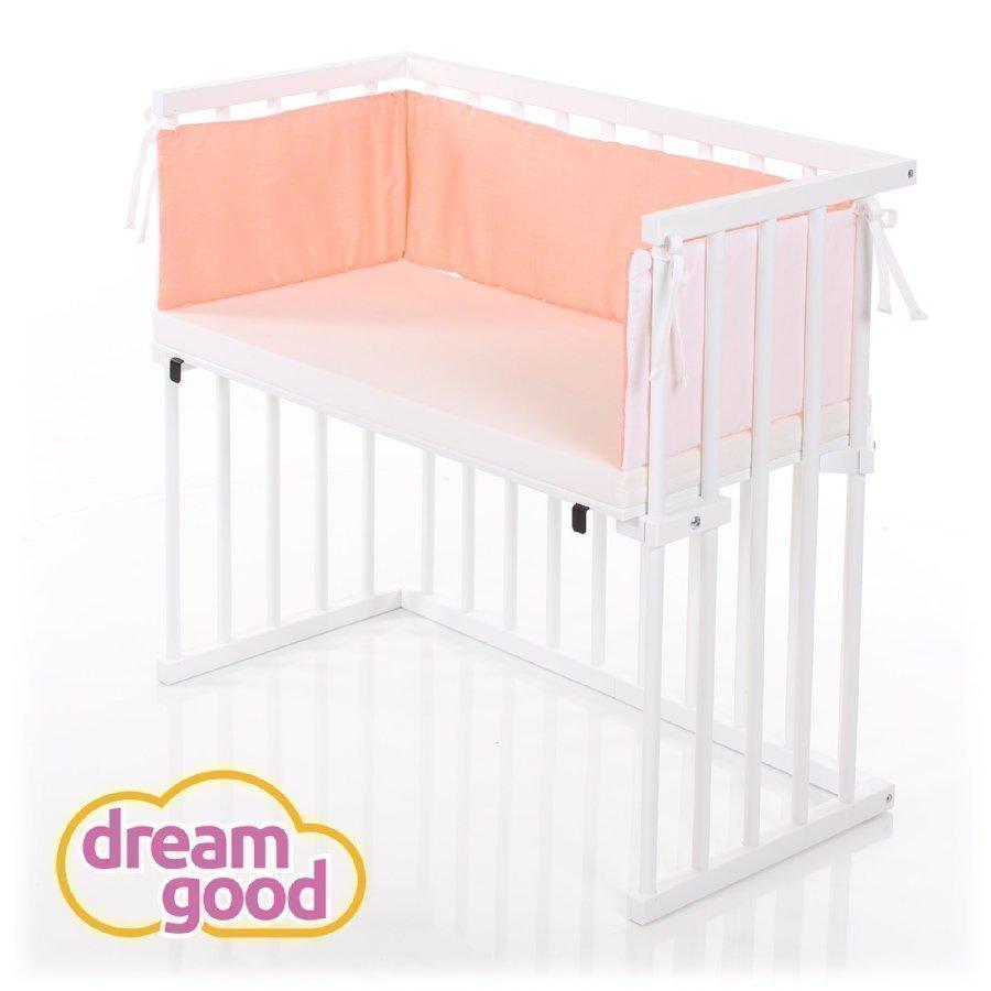 Dreamgood Sivuvaunusänky Valkoinen + Prime Air Patja + Reunapehmuste Oranssi / Valkoinen