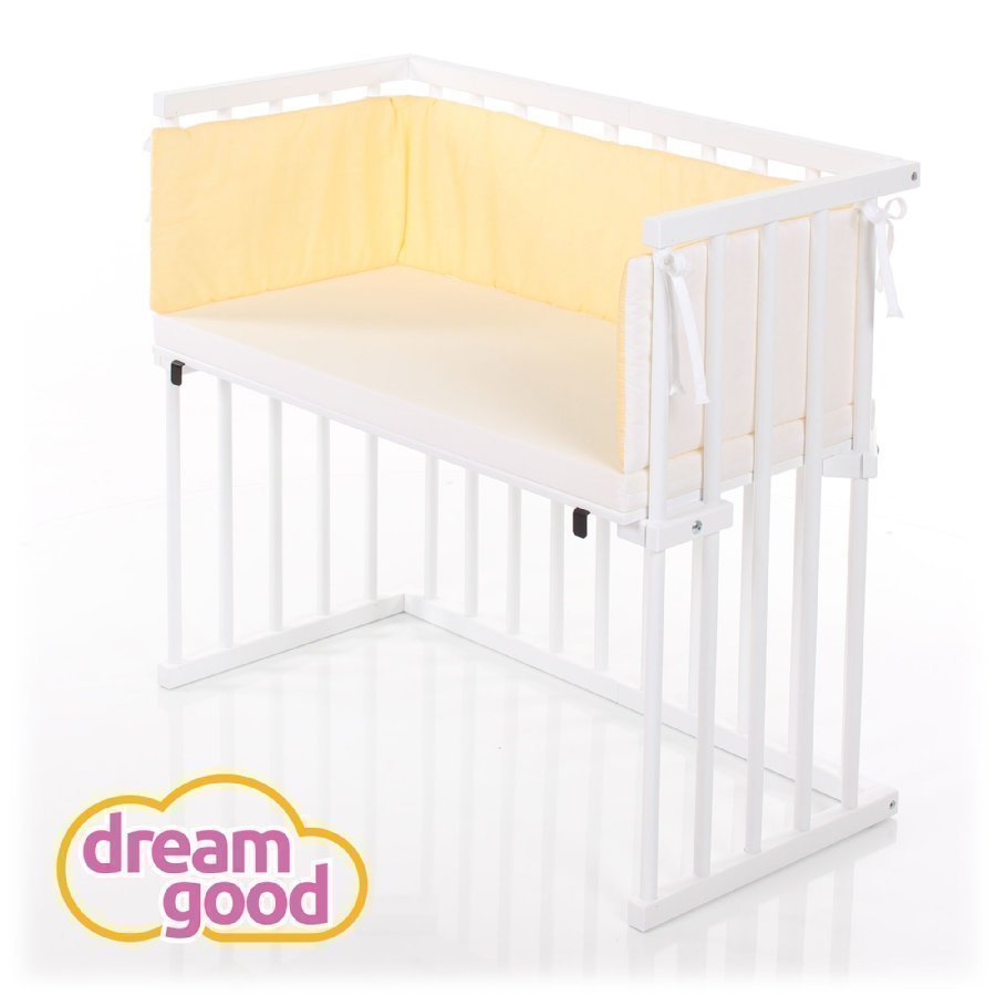 Dreamgood Sivuvaunusänky Valkoinen + Prime Patja + Reunapehmuste Keltainen / Valkoinen