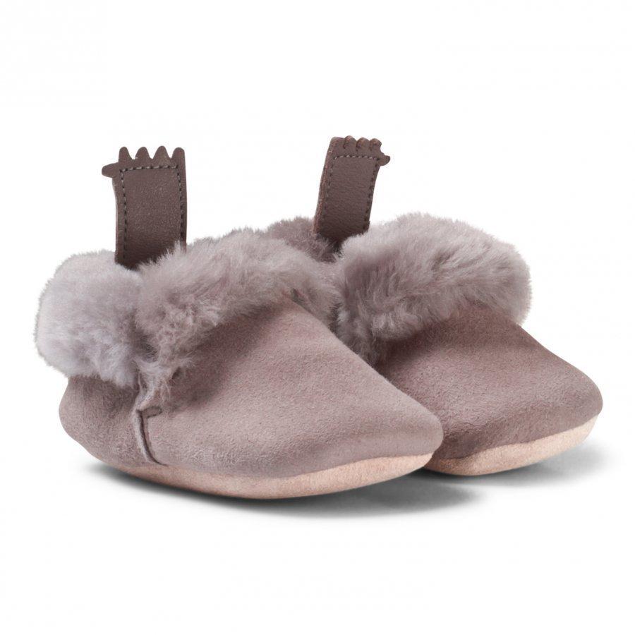 Easy Peasy Grey Ecorce Shearling Crib Booties Vauvan Kengät