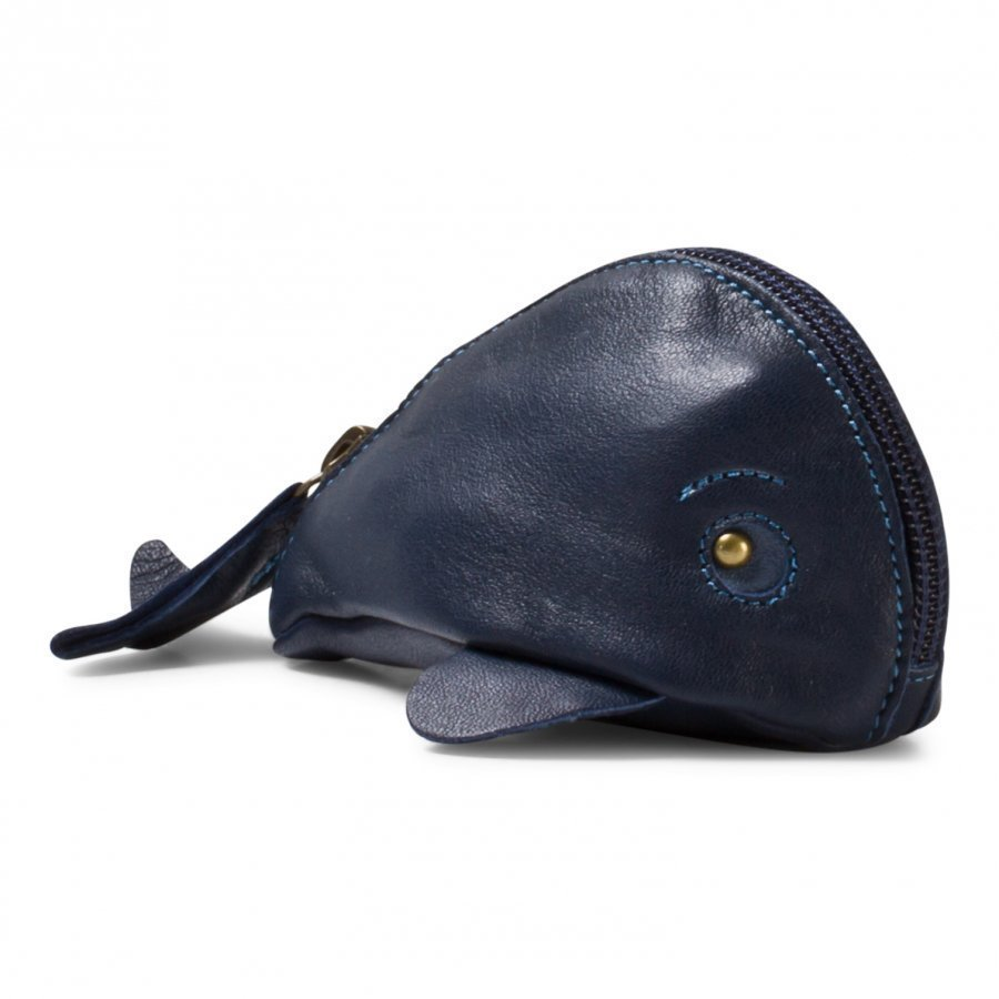 Easy Peasy Navy Whale Leather Purse Kukkaro