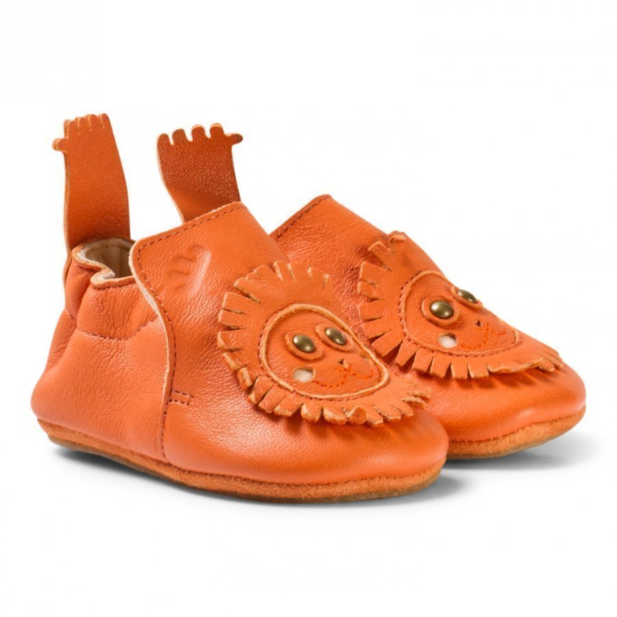 Easy Peasy Orange Leather Lion Blublu Shoes With Anti Slip Shoes Vauvan Kengät