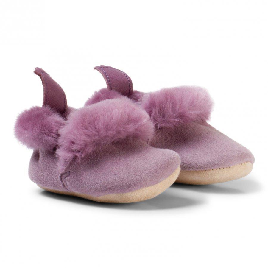 Easy Peasy Pale Pink Parme Shearling Crib Booties Vauvan Kengät