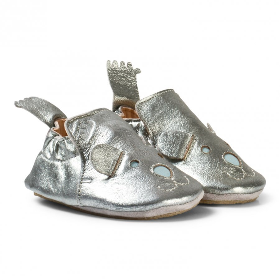 Easy Peasy Pewter Leather Teddy Blublu Shoes With Anti Slip Sole Vauvan Kengät