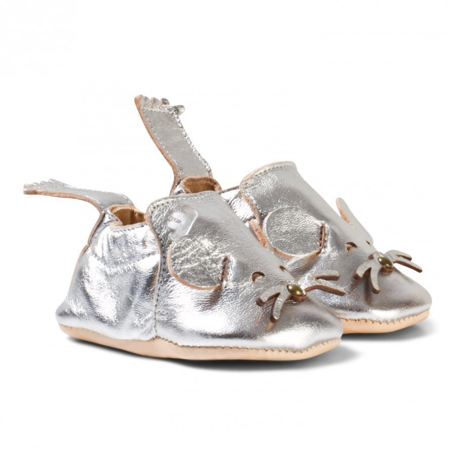 Easy Peasy Silver Metallic Mouse Blumoo Crib Shoes Vauvan Kengät