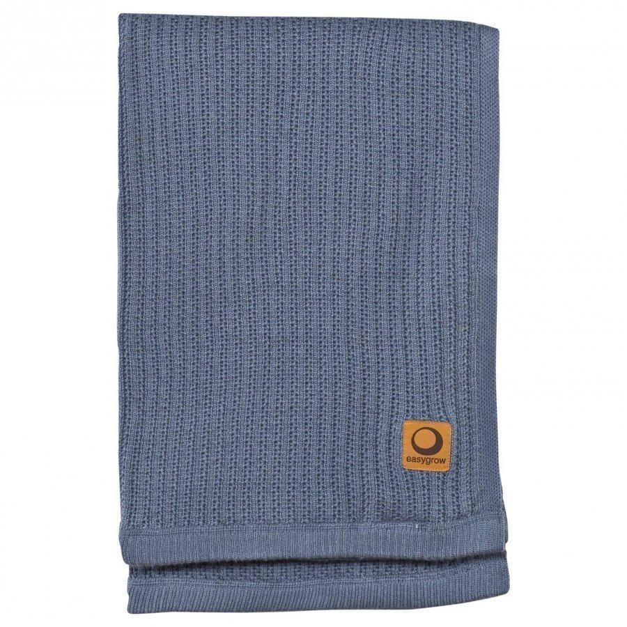 Easygrow Grandma Knitted Blanket In Blue Melange Huopa