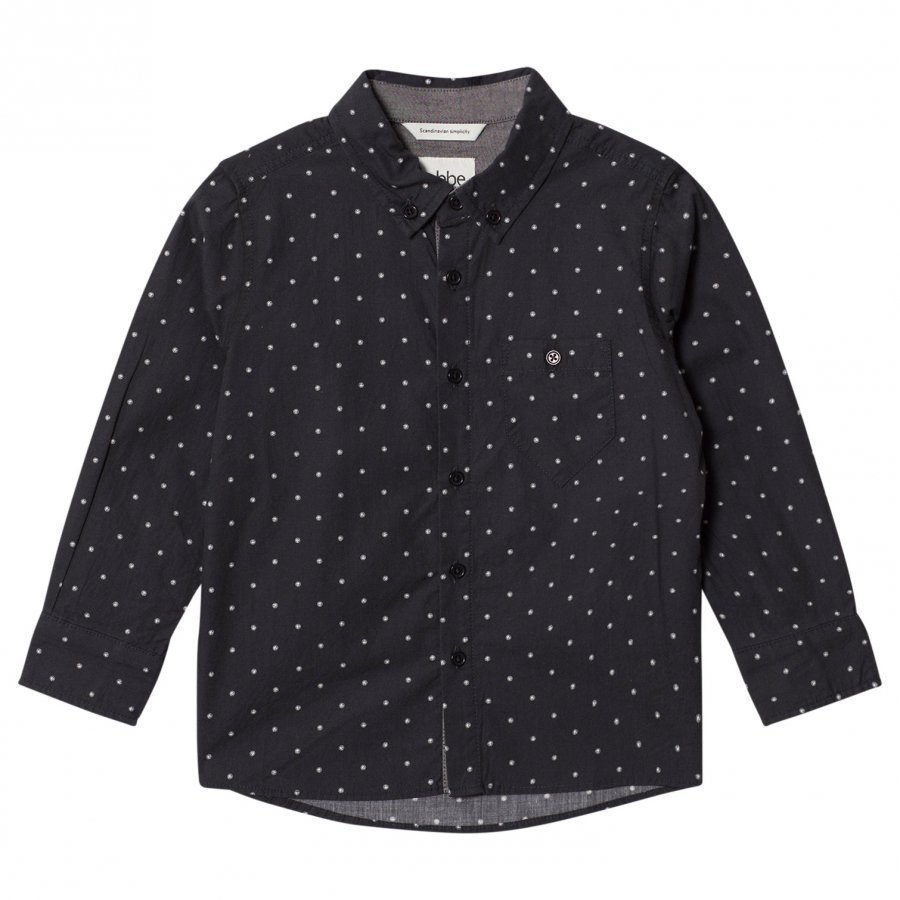 Ebbe Kids Albert Shirt Ebbe Dots On Black Kauluspaita