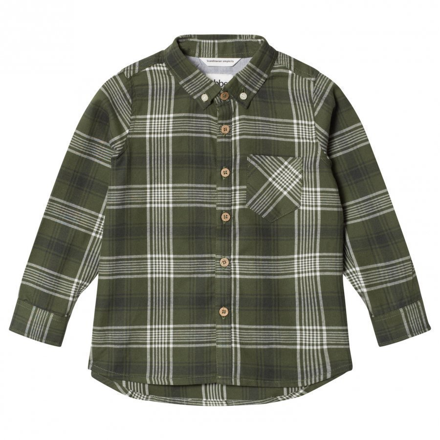 Ebbe Kids Albin Shirt Bronze Green Check Kauluspaita