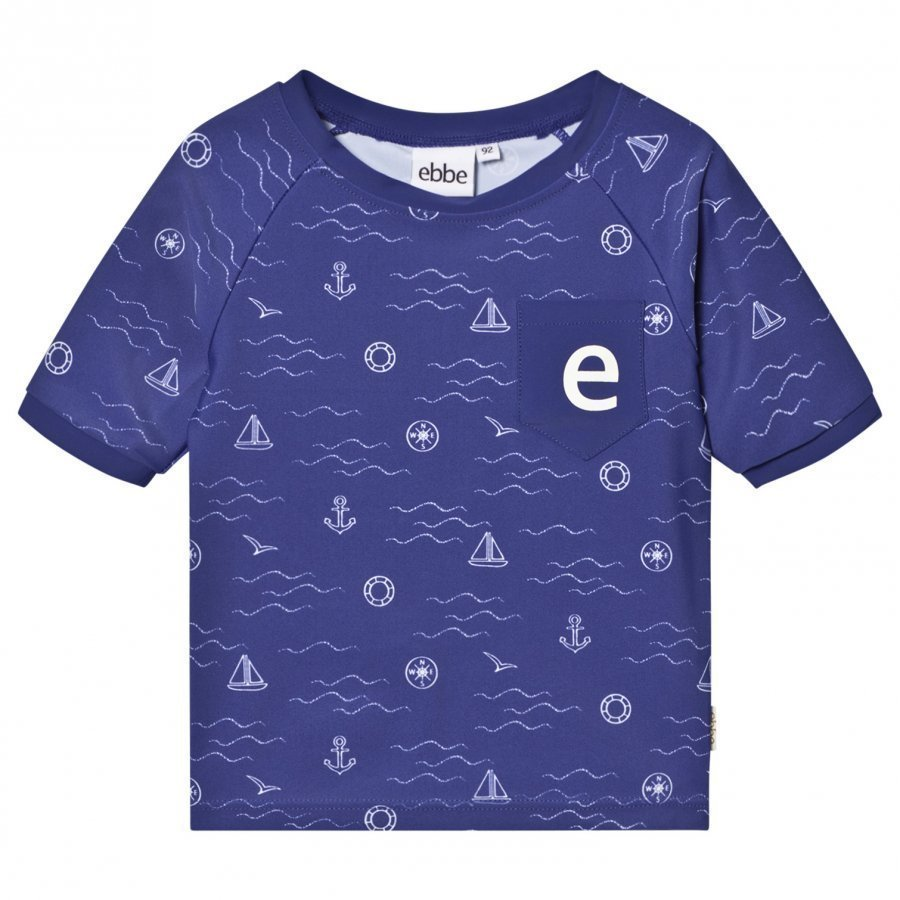Ebbe Kids Artie Swim Tee Blue Sea Waves Uv-Paita