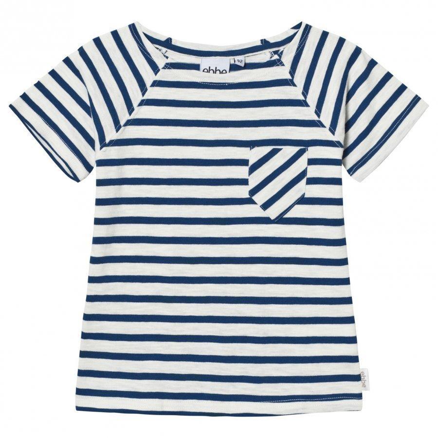 Ebbe Kids David T-Shirt Off White/Seaside Blue Stripe T-Paita