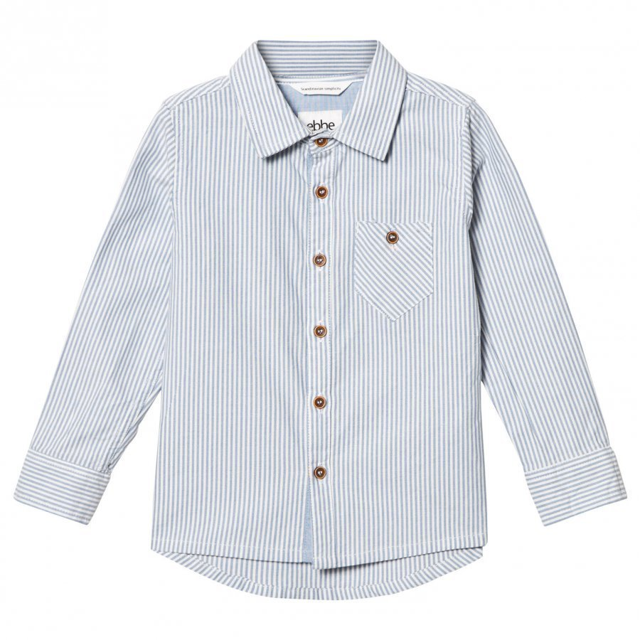 Ebbe Kids Jimmy Classic Shirt Off White/Blue Stripes Kauluspaita